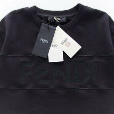 FENDI SWEATER BLACK CREW NECK LOGO EMROIDERED COTTON 2XL