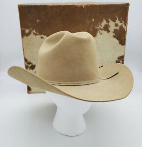 """Resistol Cowboy Hat Long Oval 3X Beaver Size 6 7/8"""" Vintage W/ Box"""