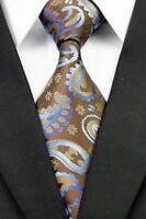 LUXURY Tie Mens Classic Paisley Patterned Silk Necktie Tie Brown Blue luxury tie