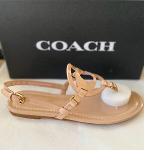 "Coach ""Jeri"" Nude Patent Leather Ankle Strap Sandals UK 5 RRP £110"