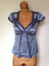 Nanette Lepore Slate Blue Silk Satin Lace Trim Low Cut Blouse Top Womens 4 XS S