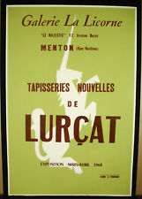 Affiche originale 1962 Galerie de la licorne Menton tapisserie DE Lurçat unicorn