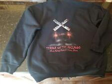"""Gildan BLACK Zip Hoodie  Full Zip Hooded Sweatshirt """"terror on the train"""" LARGE"""