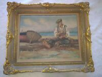 """Antique (fits 12 1/4"""" X 16"""") Gold Ornate Gesso Wooden Picture Frame / Painting"""