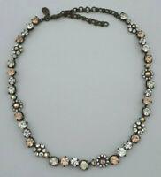 Vintage Sorrelli Necklace Peach Clear Crystal Floral Design on Antique Gold J172