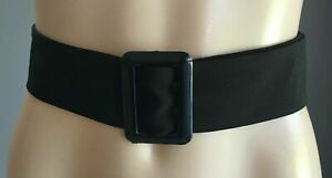 UNISEX Black Fabric Thread Through Buckle Belt 121cm Long & 5.5cm Wide