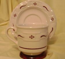 Longaberger Pottery Woven Traditions Red Cup & Saucer Sets