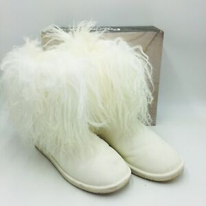 BEARPAW Women's Boo Suede and Curly Lamb Cold Weather Boot Size 12 White