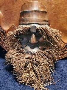 """Antique Vintage Unusual Hand Carved Face Bamboo Root Tree Home Decoration 12"""""""