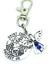 St Christopher & Guardian Angel September Birthstone keyring, bag charm Gift
