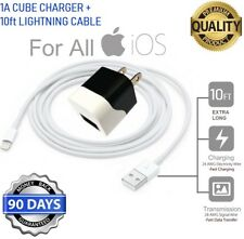 10ft Long 8 Pin USB Power Cord Cable for iPhone 6S,6,SE + Wall Cube Charger [M3F