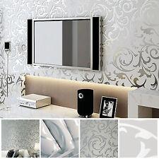 10M Optik 3D Vlies Wand Tapete Barock Rolle Wandtapete Dekoration Silber