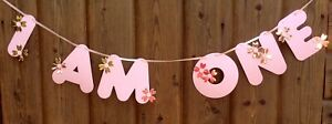 I AM ONE GIRLS PINK & ROSE GOLD BUNTING 1st BIRTHDAY BANNER