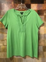 TALBOTS SS Green Knit Top With Detailed Trim Front Placket Size Xp EUC