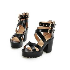 Women Sandals Roman Rivet Studded Chunky Heels Cross-Strap Gothic Platform Shoes