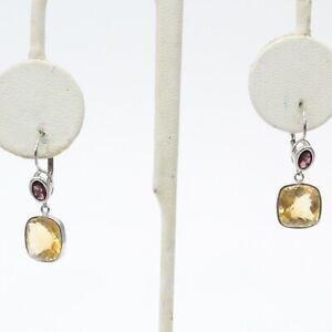 14K White Gold Citrine & Garnet Dangle Earrings