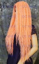 Extra Long Full Wavy Heat Safe Lace Front Human Hair Blend Wig PEACH EVFB