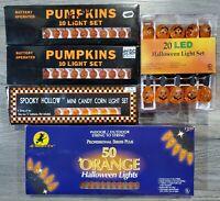 Vintage Halloween Pumpkin & Candy Corn String of Lights W/ LED Set Orange Lot