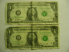 FANCY US ONE DOLLAR FEDERAL RESERVE NOTES 2 BILLS 2009 2003 4169 B REPEATING #'S