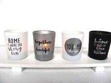 Set of Four Home/Love Glass Tealight Holders on White Wood Stand.Gift