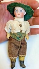 Antique signed French~German?~bisque Jointed Boy doll~original clothes~Big hat