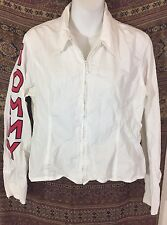 Tommy Jeans Women's Large Front Zipper Shirt Jacket White With Flag In Back Vtg