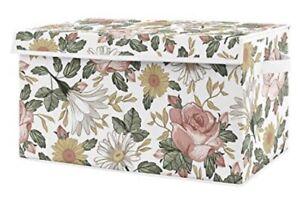 Sweet Jojo Pink Vintage Floral Boho Baby Girl Nursery Fabric Toy Bin Storage Box