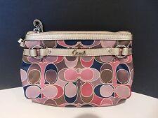 Coach Signature Sateen Scarf Print Wristlet Wallet Purple/Pink/Gold 47799
