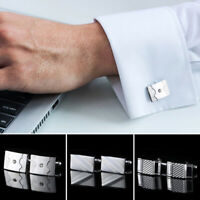 1 Pair Men's Silver Cuff Links Stainless Steel Jewelry Cufflinks Wedding Gift