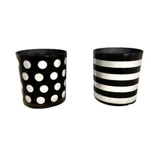 Black & White Striped & Polka Dot Glass Vases/Candle Holders Home Decor