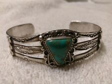with Untreated Cerrillos Turquoise 1920's Navajo Coinsilver Bracelet