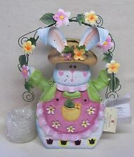 Home Interiors Metal Easter Bunny Candle Holder #11861 New In Original Box
