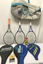 Lot of Tennis Gear (3) Racquets + Techifibre Bag + Tennis Balls Prince Wilson