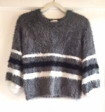 For Love & Lemons Knitz Gray White Black Shaggy Knit Sweater Size S
