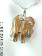 """PERFECT Sterling Silver Estate TIGER'S EYE ELEPHANT 16"""" NECKLACE FREE SHIPPING"""