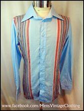 Vintage 80's Blue Striped Poly/Cotton Blend Roland Kosser Shirt Size 14.5 Small