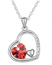 Amazing Silver & Red Heart Pendant Love Crystal Necklace N110