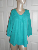 Women's Size XL 3/4 Sleeve Green V-Neck Top Blouse