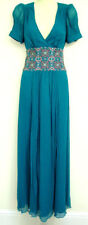 MONSOON TEMPLETON TEAL SILK MAXI COCKTAIL DRESS 10 rrp=£180
