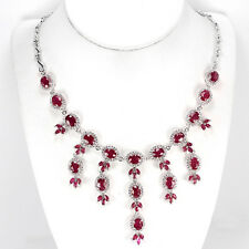 215 CTS!! SPECTACULAR!! NATURAL TRANSLUCENT BLOOD RD RUBY 925 SILVER NECKLACE