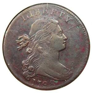 1798 Draped Bust Large Cent 1C Coin - Certified ANACS XF Details / Net VF30