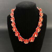 Vintage Gold Tone & Orange Enamel Flower Necklace Choker Rhinestones Figural Old