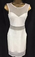 Lipsy Sexy Bodycon Dress 8 White Cream Mesh Sheer Panel Mini Party Club Holiday
