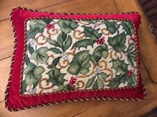 "Williamsburg Needlepoint Velvet Pillow Leaves red flower gold details 15.5""x11"""