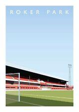 Roker Park Stadium A3 Art Illustration Poster - Sunderland AFC