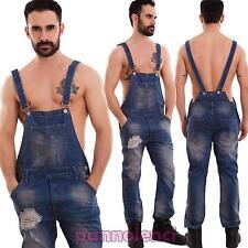 Salopette uomo jeans overall tuta intera denim strappi casual slim cotone L212