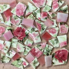 Broken China Plate Mosaic Tiles~CHIC @ SHABBY PINK ROSES + PINK STAINED GLASS