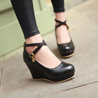 Women's Synthetic Leather Platform Wedge High Heels Pumps Shoes AU All Size D239