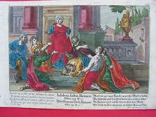 BIBEL  ÜBERFLIEGENDER STOLTZ HAMANS 1730 M. Engelbrecht kolori. Kupferstich