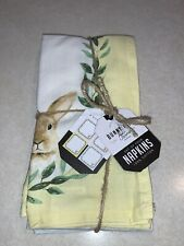 Bunny Hill Farms Easter Bunny Rabbit Cloth Fabric Dinner Napkins Set of 4 New